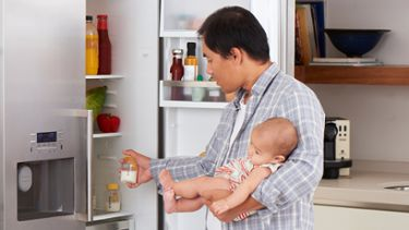 Breast milk versus formula dad and baby